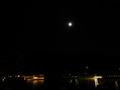 ライトアップされた厳島神社と月