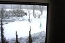 しこつ湖鶴雅リゾートスパ水の謌に入ってすぐに見えた雪景色
