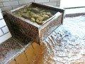 椰子の木陰の露天風呂内湯の湯口