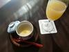 和食ランチセットの先付けの茶碗蒸しとアップルジュース
