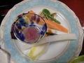 桜づくしの夕食 桜ドレッシングのサラダ