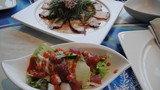 コーラルシービューのサラダ。マグロと蛸と海ぶどうと。。。
