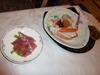 渚亭 夕食 ハムとカニ