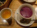 紫芋のスープと食前酒