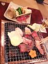 別荘 今昔庵の夕食 豊後牛の炭火焼