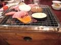 夕食(豊後牛・豊後赤鶏の炭火焼)