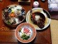 夕食の一部、金目鯛にイセエビ、伊豆の定番