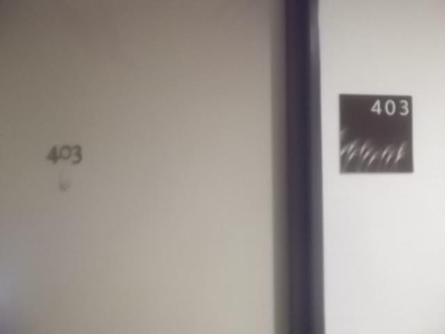 部屋は、4階川側403号室でした