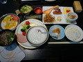 ホテル内の食事処、かりの菜での朝食