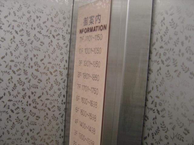 エレベーターの各階案内