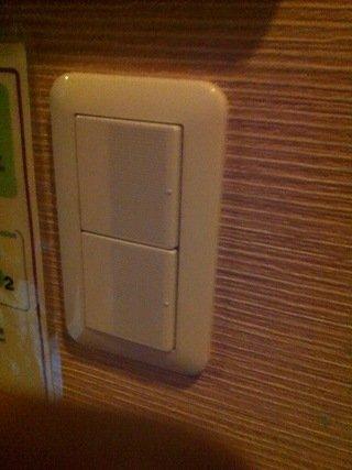 ドミトリールームの照明スイッチ