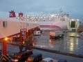 苫小牧フェリーターミナルへ続く通路から見たシルバープリンセスの外観