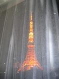 部屋の窓からカーテン越しに見た東京タワー(夜)