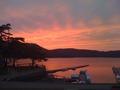 ゴールドハウスから秋の夕陽に映える桧原湖