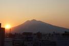 岩木山の夕日