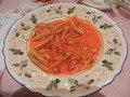 メインのペンネピリ辛トマトソース