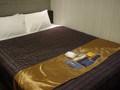 見てのとおり広めのベッド