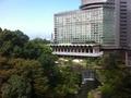 日本庭園は、木がたくさん茂り、滝が流れています