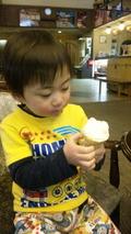 ロビーで食べるソフトクリーム
