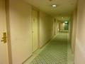 白とグリーンが基調の、客室階の廊下