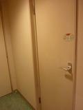 室内廊下(緑のじゅうたん)とバスルームドアー