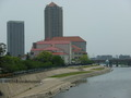 武庫川から見える「宝塚大劇場」と「宝塚大橋」