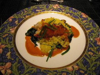 フレンチコースの魚料理