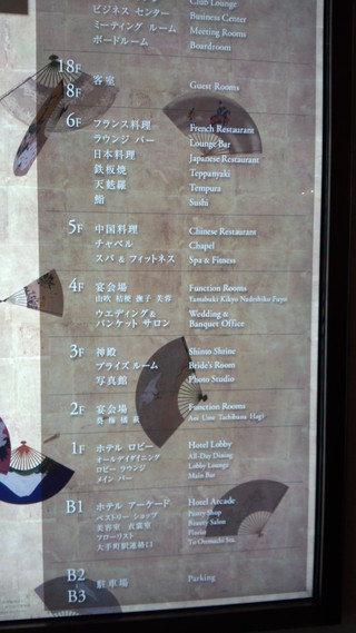 パレスホテル東京の案内板