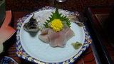 秘湯にごり湯の宿渓雲閣の夕食の刺身