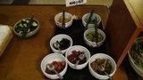 はぼろ温泉サンセットプラザの朝食の烏賊の塩辛、梅干しなど