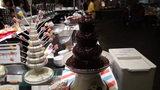 軽井沢プリンスホテルウエストのブュッフェのチョコレートファウンテン