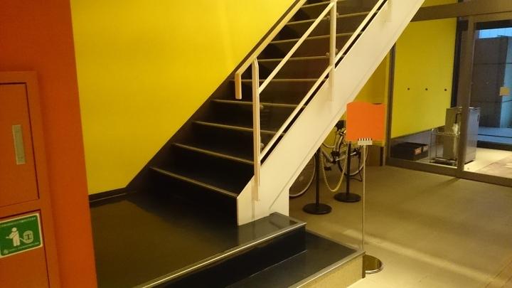 ホテル1ー2ー3高崎の2Fフロントへの階段