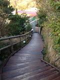 天空露天風呂「雲母」から上って来た階段を見る