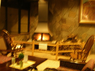 暖炉のあるロビー