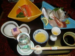 お刺身 カニ酢の前菜盛り