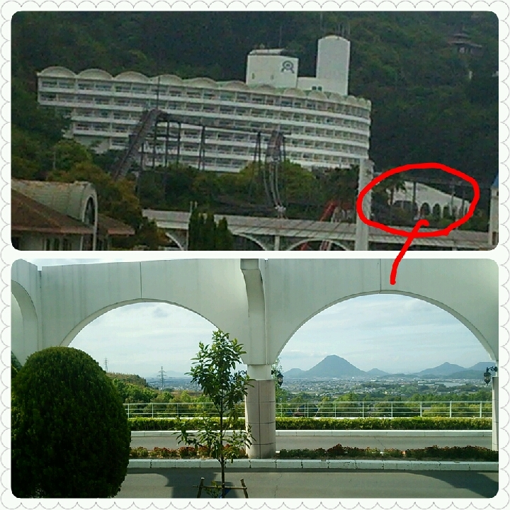 ホテル全景と、玄関から見える景色