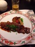 夕食牛ロースステーキ