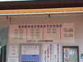 遊覧船時刻表と乗車券発売機