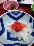朝食 ご飯に明太子最高!