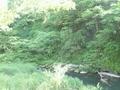 「夢殿」露天風呂の内湯からの眺め