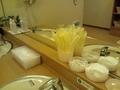 大浴場の洗面台のアメニティ