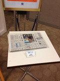 朝食会場に新聞紙あります。