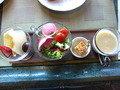 ルジャルダンでブレックファースト、フルーツ、サラダ、キッシュ、スープです。