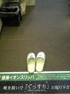 部屋は靴のエリアとスリッパエリアが