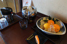 貸切風呂にあるセルフオレンジジュースサービス