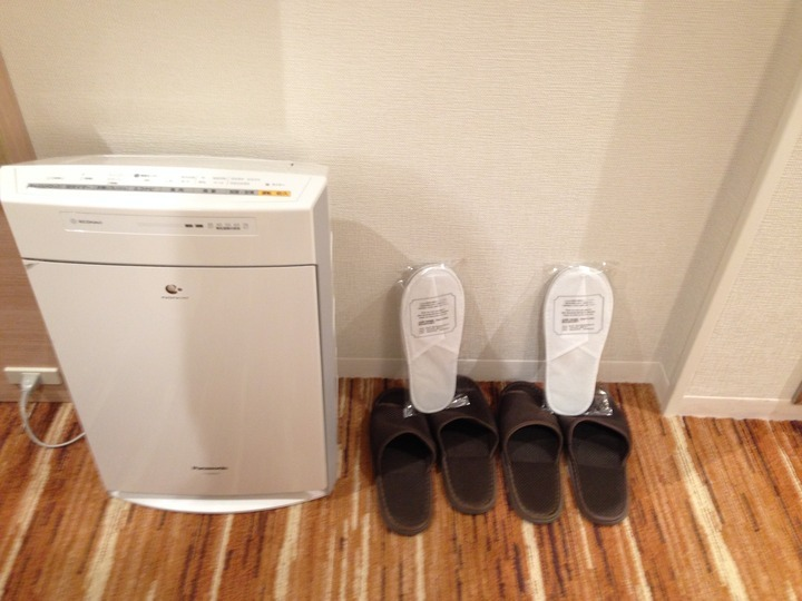 空気清浄器とスリッパ