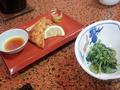 【夕食】山菜胡麻和え&小鹿野産しゃくし菜と鶏肉のはさみ焼き 梅の焼酎漬け
