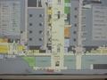 名古屋駅の案内板見取り図。左下の黄緑色がマリオットです