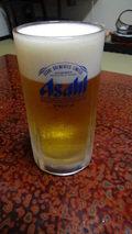 秘湯にごり湯の宿渓雲閣の夕食の瓶ビール(アサヒスーパードライ)