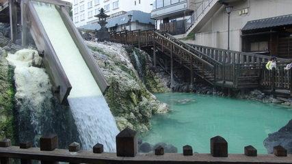 宿から歩いてすぐのところにある草津温泉のシンボル「湯畑」